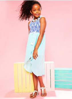 Girls 7-16 Printed Multi Strap Caged BackDress with Rope Belt - 1615051060146