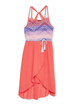 Girls 7-16 Printed Multi Strap Caged BackDress with Rope Belt - FUCHSIA - 1615051060146