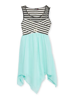Girls 7-16 Mesh Yoke Striped Dress with Sharbite Hem and Necklace - 1615051060147