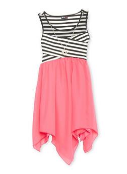 Girls 7-16 Mesh Yoke Striped Dress with Sharbite Hem and Necklace - 1615051060147