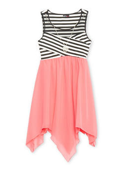 Girls 7-16 Mesh Yoke Striped Dress with Sharbite Hem and Necklace - CORAL - 1615051060147