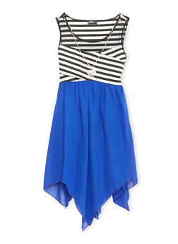 Girls 7-16 Mesh Yoke Striped Dress with Sharbite Hem and Necklace - ROYAL - 1615051060147