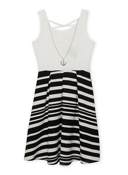 Girls 7-16 Striped Caged Back Dress with Necklace - 1615051060148