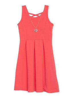 Girls 7-16 Sleeveless Ponte Knit Dress with Necklace - 1615051060149