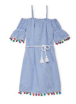 Girls 7-16 Cold Shoulder Pom Pom Trim Dress - 1615051060150