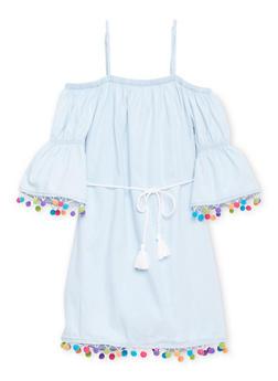 Girls 7-16 Off the Shoulder Dress with Pom Pom Trim - 1615051060151
