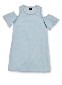 Girls 7-16 Cold Shoulder Denim Dress with Frayed Trim - 1615051060152