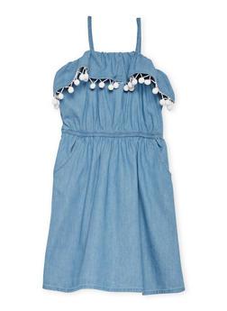 Girls 7-16 Sleeveless Denim Dress with Pom Pom Trim - 1615051060153