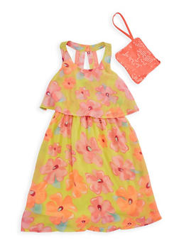 Girls 7-16 Floral Overlay Tank Dress with Wristlet - 1615051060156