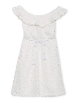 Girls 7-16 Belted Off the Shoulder Crochet Dress - 1615051060158