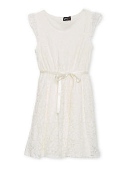 Girls 7-16 Crochet Lace Dress with Ribbon Belt - 1615051060159
