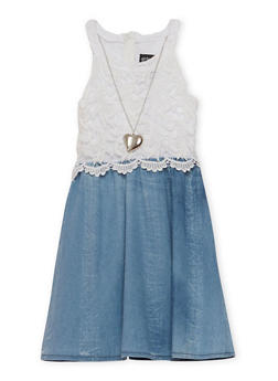 Girls 7-16 Sleeveless Crochet Denim Dress with Necklace - 1615051060160