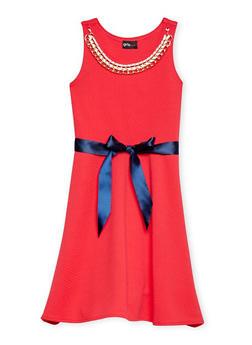Girls 7-16 Soft Knit Skater Dress with Sash Belt and Necklace - 1615051060164