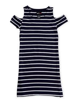 Girls 7-16 Striped Cold Shoulder T Shirt Dress - 1615051060165
