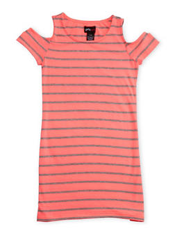 Girls 7-16 Cold Shoulder Striped T Shirt Dress - 1615051060166