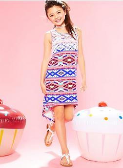 Girls 7-16 Printed High Low Dress with Crochet Yoke - FUCHSIA - 1615051060168
