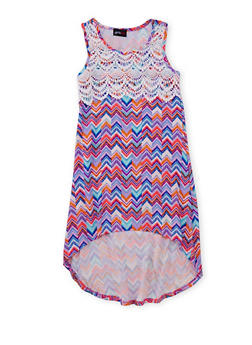 Girls 7-16 Printed High Low Dress with Crochet Yoke - MULTI COLOR - 1615051060168