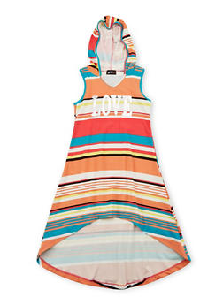 Girls 7-16 Hooded Love Graphic High Low Dress - 1615051060169