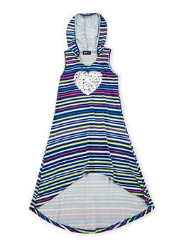 Girls 7-16 Striped Love Graphic High Low Dress with Hood - 1615051060170