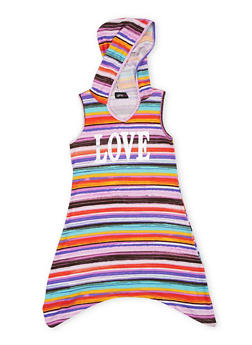 Girls 6X-16 Hooded Love Graphic Dress - 1615051060171