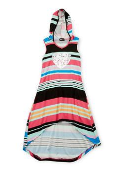 Girls 7-16 Hooded Love Graphic Dress - FUCHSIA - 1615051060171