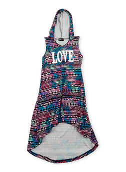 Girls 7-16 Hooded Love Graphic Dress - MULTI COLOR - 1615051060171