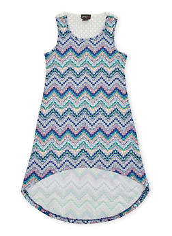 Girls 7-16 High Low Printed Tank Dress with Crochet Back - 1615051060172