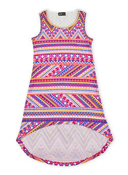 Girls 7-16 High Low Printed Tank Dress with Crochet Back - FUCHSIA - 1615051060172