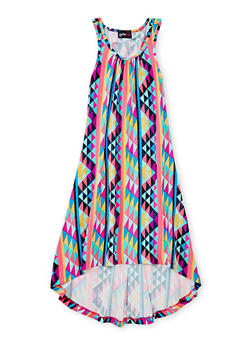 Girls 7-16 Printed High Low Tank Dress - FUCHSIA - 1615051060173