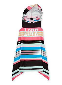 Girls 7-16 Striped Graphic Dress with Hood - FUCHSIA - 1615051060174
