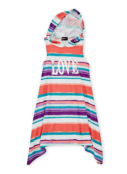 Girls 7-16 Striped Graphic Dress with Hood - CORAL - 1615051060174