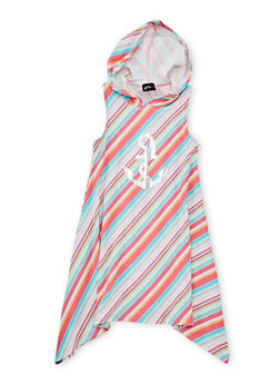 Girls 7-16 Striped Graphic Dress with Hood - MULTI COLOR - 1615051060174