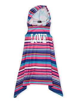 Girls 7-16 Love Graphic Striped Dress with Hood - FUCHSIA - 1615051060175