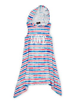 Girls 7-16 Love Graphic Striped Dress with Hood - MULTI COLOR - 1615051060175