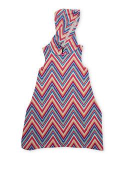 Girls 7-16 Hooded Printed Tank Dress with Sharkbite Hem - FUCHSIA - 1615051060176