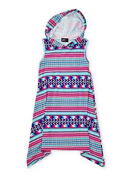 Girls 7-16 Hooded Printed Tank Dress with Sharkbite Hem - MULTI COLOR - 1615051060176