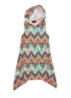 Girls 7-16 Hooded Multicolor Print Dress - TURQUOISE - 1615051060177