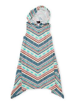Girls 7-16 Hooded Multicolor Print Dress - MULTI COLOR - 1615051060177