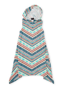 Girls 7-16 Printed Sharkbite Dress with Hood - 1615051060178