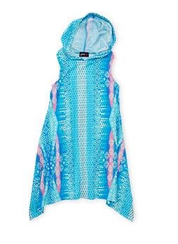 Girls 7-16 Printed Sharkbite Dress with Hood - BLUE - 1615051060178