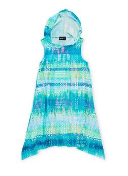 Girls 7-16 Printed Sharkbite Dress with Hood - ROYAL - 1615051060178