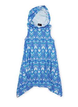 Girls 7-16 Printed Sharkbite Dress with Hood - ROYAL COMBO - 1615051060178