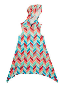 Girls 7-16 Printed Sharkbite Tank Dress with Hood - 1615051060179