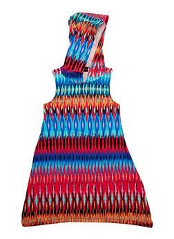 Girls 7-16 Printed Sharkbite Tank Dress with Hood - MULTI COLOR - 1615051060179