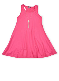 Girls 7-16 Sleeveless Trapeze Dress with Necklace - 1615051060180