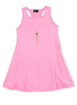 Girls 7-16 Solid Tank Dress with Neckace - 1615051060181