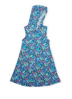 Girls 7-16 Printed Tank Dress with Hood - 1615051060183