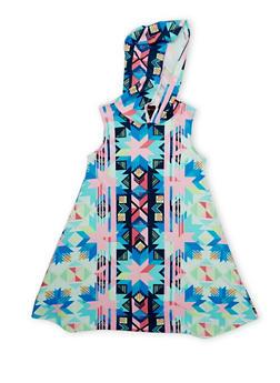 Girls 7-16 Multi Color Hooded Tank Dress - BLUE - 1615051060184
