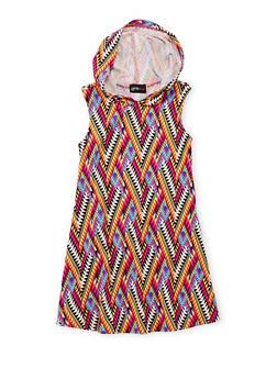 Girls 7-16 Printed Tank Dress with Hood - 1615051060185