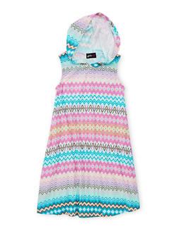 Girls 7-16 Printed Tank Dress with Hood - AQUA - 1615051060185